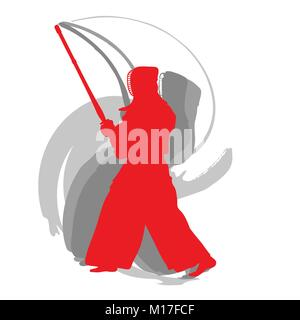 Kendo fighter red silhouette with shinai isolated on white background abstract concept - Stock Photo