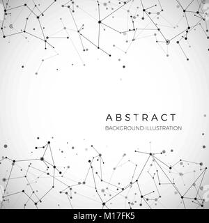 Node, dots and lines. Abstract particles geometric graphic background. Structure of atom, molecule and communication. - Stock Photo