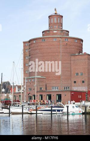 Eckernforde, fishing harbour and round silo in Germany - Stock Photo