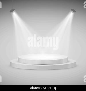 Round stage illuminated by spotlights. Realistic podium. Vector illustration - Stock Photo