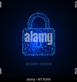 Secure digital space. Programming protection, padlock security system. Vector illustration - Stock Photo