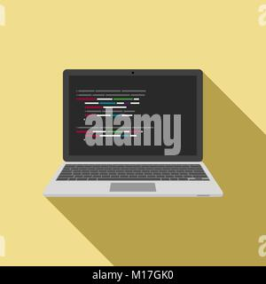 Laptop icon with code editor on screen. vector - Stock Photo