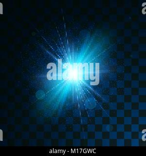 Blue glowing light glitter effect on transparent background. Magical star dust sparks light effect in explosion. - Stock Photo