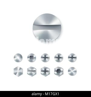Set of head screws and bolts, nails and rivet isolated on white background. Vector illustration - Stock Photo