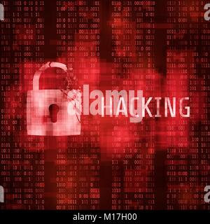 Hacking. Hacker cyber attack. Hacked program on matrix code background. Vector illustration - Stock Photo