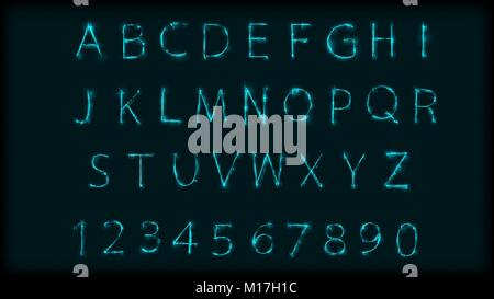 Neon abc letters symbol typeset. Design Roman alphabet and numbers with neon effect. Vector illustration - Stock Photo