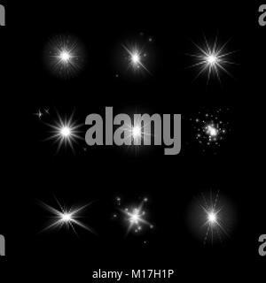 Set of glowing light effect stars. Bursts with sparkles on dark transparent background. Transparent vector stars - Stock Photo
