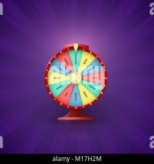 Arrow on wheel of fortune point to jackpot slot. Wheel of fortune opportunity to win in lottery. Vector illustration - Stock Photo