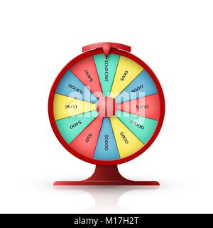 Wheel of fortune. 3d object isolated on white background. Vector illustration - Stock Photo