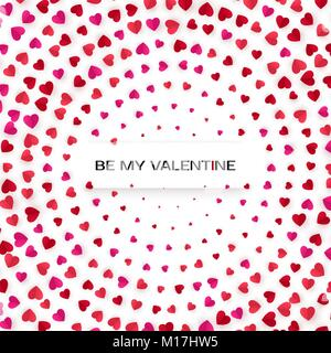 Hearts Halftone greeting card template. Pink and red heart background. Vector illustration - Stock Photo