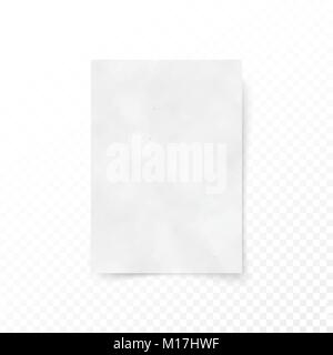 Empty paper letter white sheet template. Paper and carton texture. Paper surface canvas. Vector illustration isolated - Stock Photo