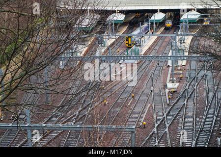 The entrance to Waverley Train Station in Edinburgh, Scotland, UK - Stock Photo