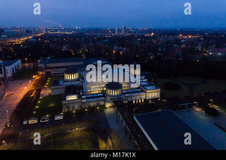Aerial: Four Domes Pavilion in Wroclaw at night - Stock Photo