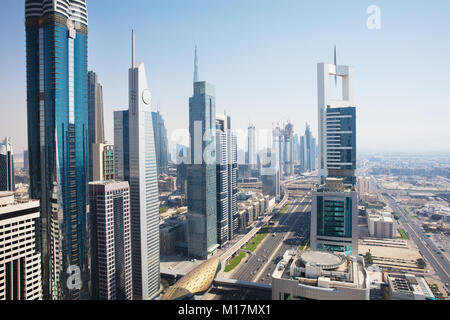 Elevated View Of The Modern Skyscrapers Along Sheikh Zayed Road, UAE - Stock Photo