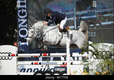 Guadalajara, Jalisco, Mexico. 27th January, 2018.CSI 4*, Longines World Cup, Federico Fernandez (MEX)  riding Pegasso. - Stock Photo