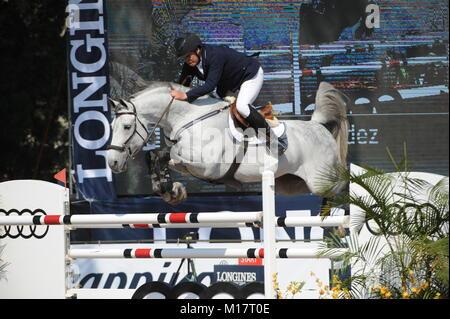 Guadalajara, Jalisco, Mexico. 27th January, 2018.CSI 4*, Longines World Cup, Federico Fernandez (MEX)  riding Pegasso. - Stock Photo