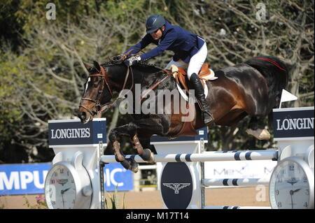 Guadalajara, Jalisco, Mexico. 27th January, 2018.CSI 4*, Longines World Cup, Manuel Senderos (MEX)  riding Lawitano. - Stock Photo