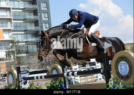 Guadalajara, Jalisco, Mexico. 27th January, 2018.CSI 4*, Longines World Cup, Manuel Senderos (MEX)  riding Lawitano. - Stock Photo