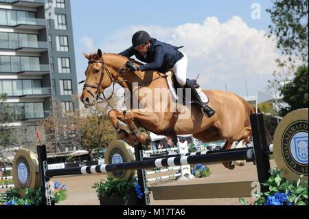 Guadalajara, Jalisco, Mexico. 27th January, 2018.CSI 4*, Longines World Cup, Patricio Pasquel (MEX) riding Babel. - Stock Photo