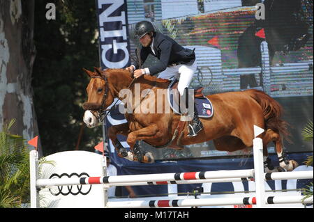 Guadalajara, Jalisco, Mexico. 27th January, 2018.CSI 4*, Longines World Cup, Karl Cook (USA) riding Tembla. Credit: - Stock Photo
