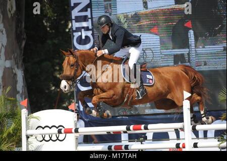 Guadalajara, Jalisco, Mexico. 27th January, 2018.CSI 4*, Longines World Cup, Karl Cook (USA) riding Tembla. Credit: - Stock Photo
