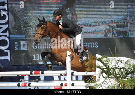 Guadalajara, Jalisco, Mexico. 27th January, 2018. CSI 4*, Longines World Cup, Guillermo Williams (MEX) riding Magallanes. - Stock Photo