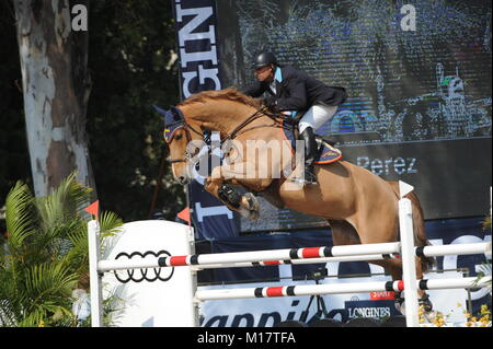Guadalajara, Jalisco, Mexico. 27th January, 2018. CSI 4*, Longines World Cup, John Perez (COL) riding Emir. Credit: - Stock Photo