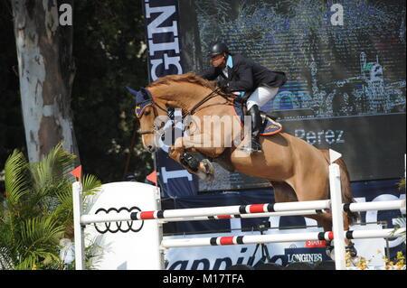 Guadalajara, Jalisco, Mexico. 27th January, 2018. CSI 4*, Longines World Cup, John Perez (COL) riding Emir. Credit: - Stock Photo