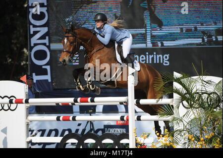 Guadalajara, Jalisco, Mexico. 27th January, 2018. CSI 4*, Longines World Cup, Sarah Scheiring (USA) riding Dontez. - Stock Photo