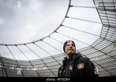 Leverkusen, Germany. 28th Jan, 2018. Leverkusen's head coach Heiko Herrlich before the German Bundesliga soccer - Stock Photo