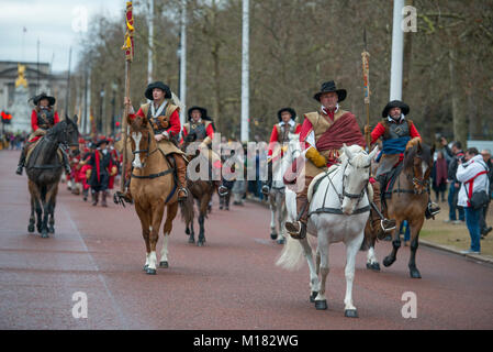 The Mall, London, UK. 28 January 2018. The King's Army Annual March takes place, performed by members of The English - Stock Photo