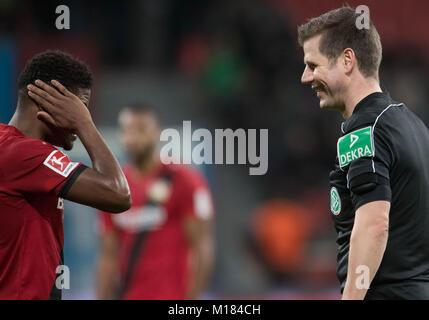 Leverkusen, Germany. 28th Jan, 2018. Referee Frank Willenborg speaking with Leon Bailey of Leverkusen during the - Stock Photo