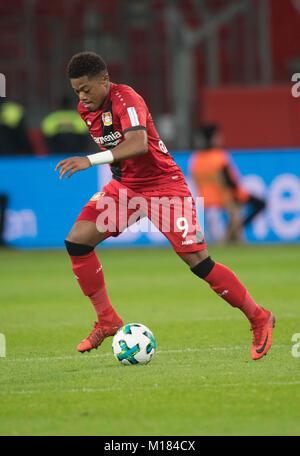 Leverkusen, Germany. 28th Jan, 2018. Leverkusen's Leon Bailey in action during the German Bundesliga football match - Stock Photo