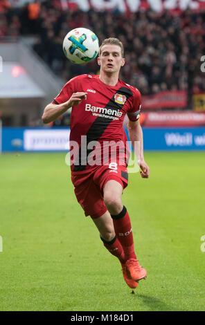 Leverkusen, Germany. 28th Jan, 2018. Leverkusen's Lars Bender in action during the German Bundesliga football match - Stock Photo