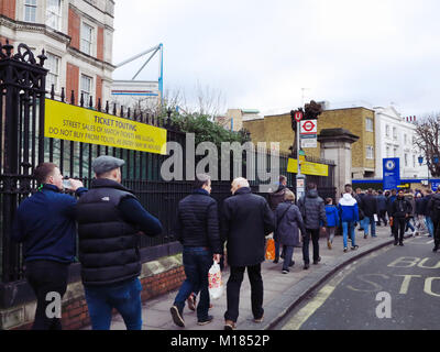 Fulham, London, UK 28th January, 2018  Warning signs against ticket touts (scalpers) displayed outside Chelsea  - Stock Photo