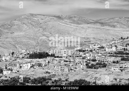 Wadi Musa, small town near Petra, Jordan (monochrome) - Stock Photo