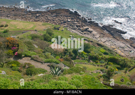 Looking down on the sub tropical gardens at St. Michael's Mount, Cornwall, UK - John Gollop - Stock Photo