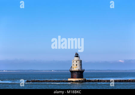 Harbor of Refuge Light Lighthouse in the Delaware Bay at Cape Henlopen. - Stock Photo