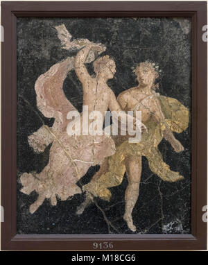 Naples. Italy. Ariadne and Dionysus (Couple in Flight), 1st century A.D. Museo Archeologico Nazionale di Napoli. - Stock Photo