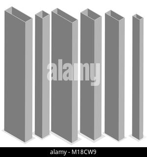 Steel beam isolated on white background. Design elements for the construction and reconstruction. Flat 3D isometric - Stock Photo