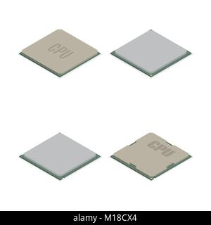 Set of processors of different shapes isolated on white background. Elements design of electronic components. Flat - Stock Photo