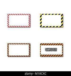 Set of different frames with slanted black and yellow stripes, isolated on white background. Rectangular warning - Stock Photo
