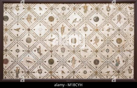 Naples. Italy. Decorative Roman fresco wall panel. Museo Archeologico Nazionale di Napoli. Naples National Archaeological - Stock Photo