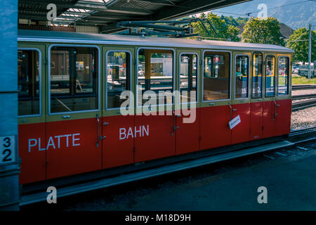 Wilderswil, Bernese Oberland, Switzerland - AUGUST 5, 2017 : Train from the Schynige Platte-Bahn in railway station - Stock Photo