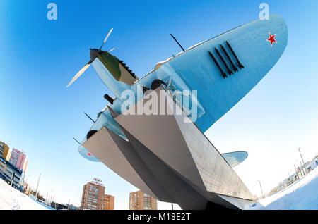 Samara, Russia - January 28, 2018: Monument to low-flying attack airplane 'Ilyushin 2' of the Second World War in - Stock Photo