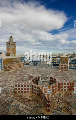 At the top of a typical roof of a traditional house in Tunis, Tunisia. - Stock Photo