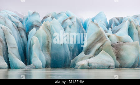 Blue ice,glacial lake Heinabergslón,Höfn,Austurland,Iceland - Stock Photo