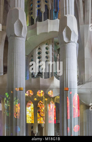 Interior view of the Sagrada Familia by Antoni Gaudi,Barcelona,Catalonia,Spain - Stock Photo