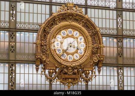 Belle Époque Station Clock,Musée d' Orsay,Paris,France - Stock Photo