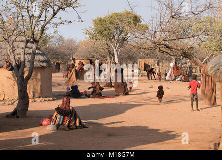 Himba people, Namibia Children and women near the village